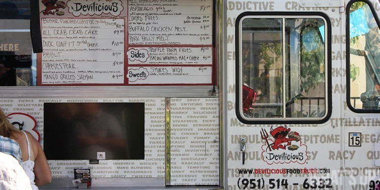 Side of Devilicious Food Truck showing menu