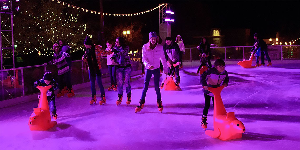 "Skaters using the ""Bobby"" seal skating aide at Temecula on Ice"