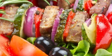 Meat and vegetable kabobs, a Whole30 meal